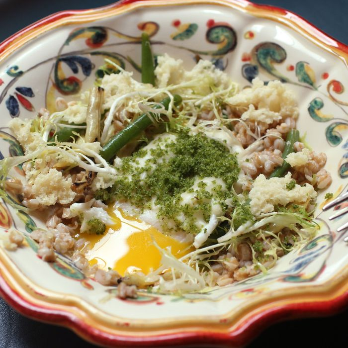 Farro with wax beans, duck egg, and tuma cheese.