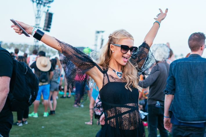 Paris Hilton having a spiritual revelation at Coachella.