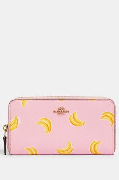Coach Accordion Zip Wallet With Banana Print
