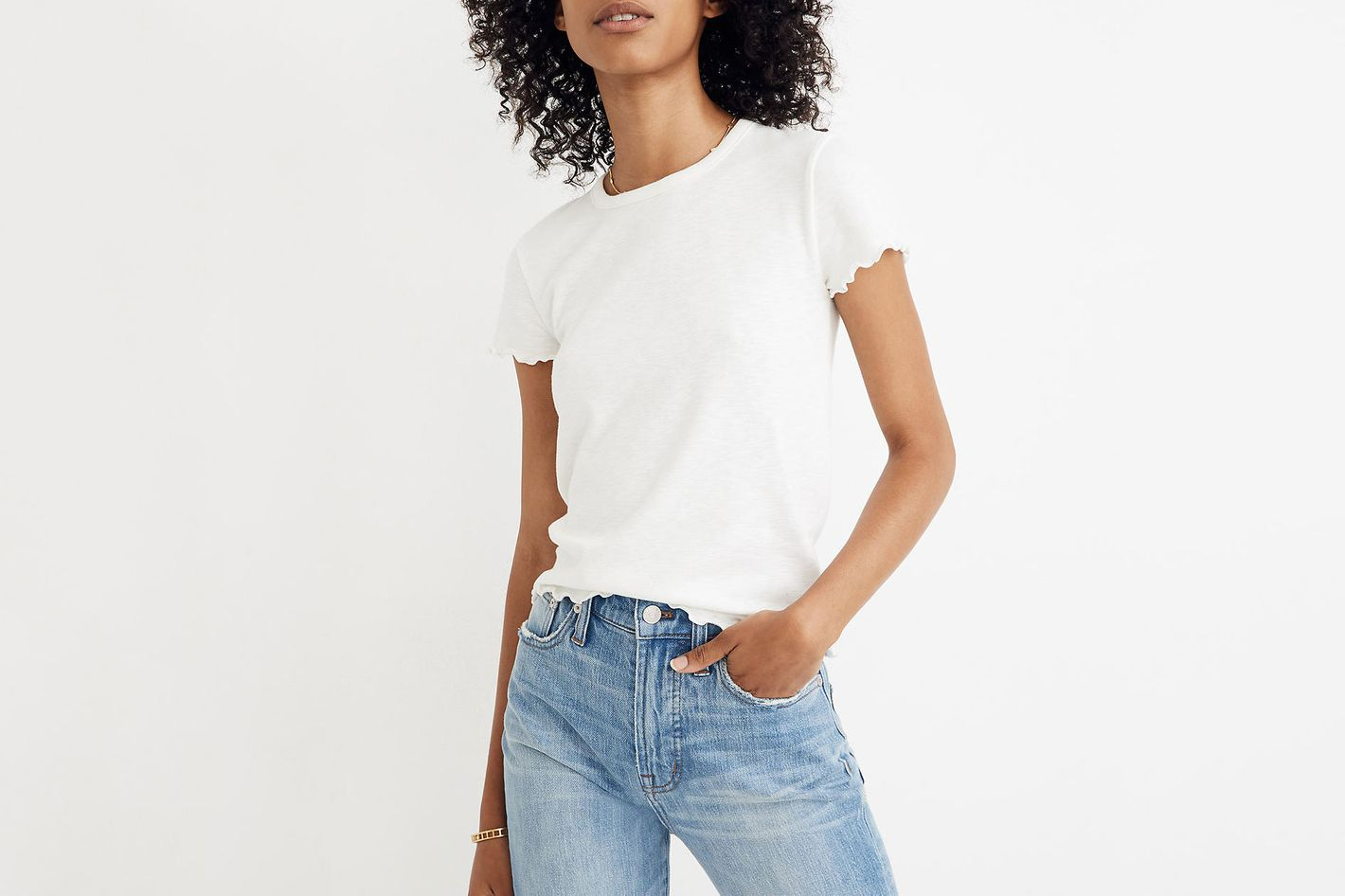 cd864a52d2 Best stretchy white T-shirt. Madewell Baby Tee. ""