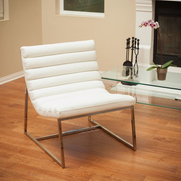 Ishan White Leather Sofa Chair