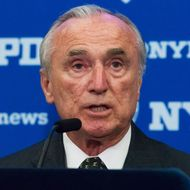 NYPD Commissioner William Bratton speaks at the press
