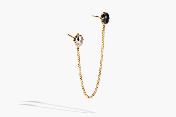 Classic Chain Single Earring With Black Tourmaline, Pyrite