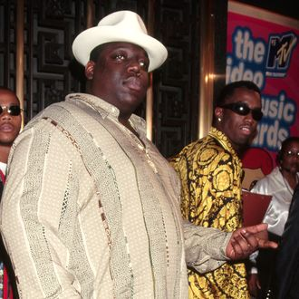 East Coast gangsta rapper Chris Wallace, known as The Notorious B.I.G., attends the MTV Video Music Awards in 1995