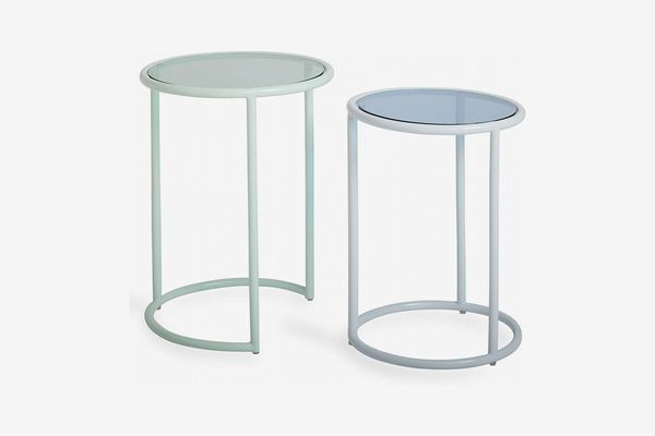 Now House by Jonathan Adler Vally Nesting Side Tables Set of 2, Mint and Blue