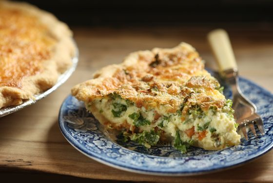 This quiche has kale and sweet potatoes.