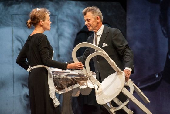 "Mikhail Baryshnikov and Anna Sinyakina perform a scene in ""In Paris"" by the Dmitry Krymov Laboratory  at the Gerald W. Lynch Theater, John Jay College on July 31, 2012, part of Lincoln Center Festival 2012. Credit: Stephanie Berger"