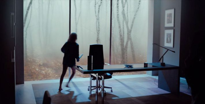 A screenshot from the movie 'Tau' which shows the antagonist's office.