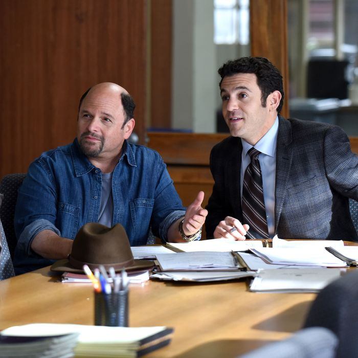 THE GRINDER: L-R: Guest star Jason Alexander and Fred Savage in the