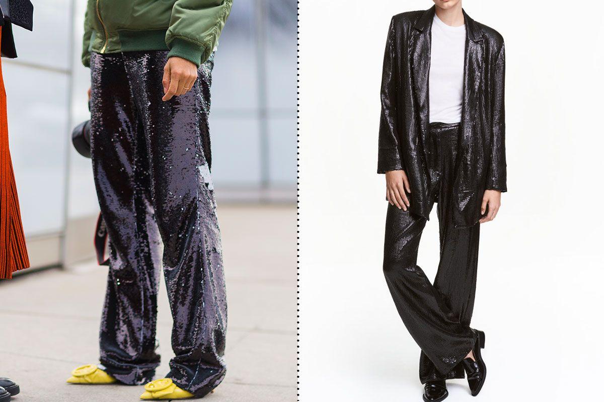 H&M Wide-Cut Sequined Pants