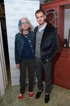 NEW YORK, NY - APRIL 27:  Andrew Garfield (L) with Dr.Jane Aronson & WWO Host Salon Event In NYC on April 27, 2014 in New York City.  (Photo by Michael Loccisano/Getty Images for Worldwide Orphans)