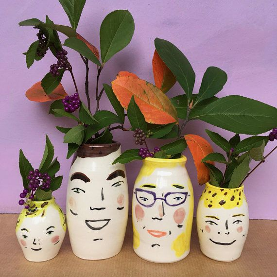 Hand Painted Ceramic Vases With Faces