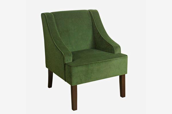 HomePop Velvet Swoop Arm Chair, Dark Green