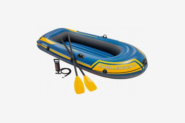 Intex Challenger 2, Two-Person Inflatable Boat Set with French Oars and High-Output Air Pump (Latest Model)