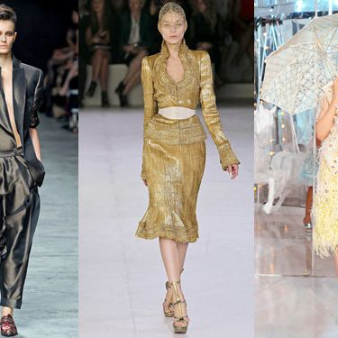 From left: spring looks from Haider Ackermann, Alexander McQueen, and Louis Vuitton.