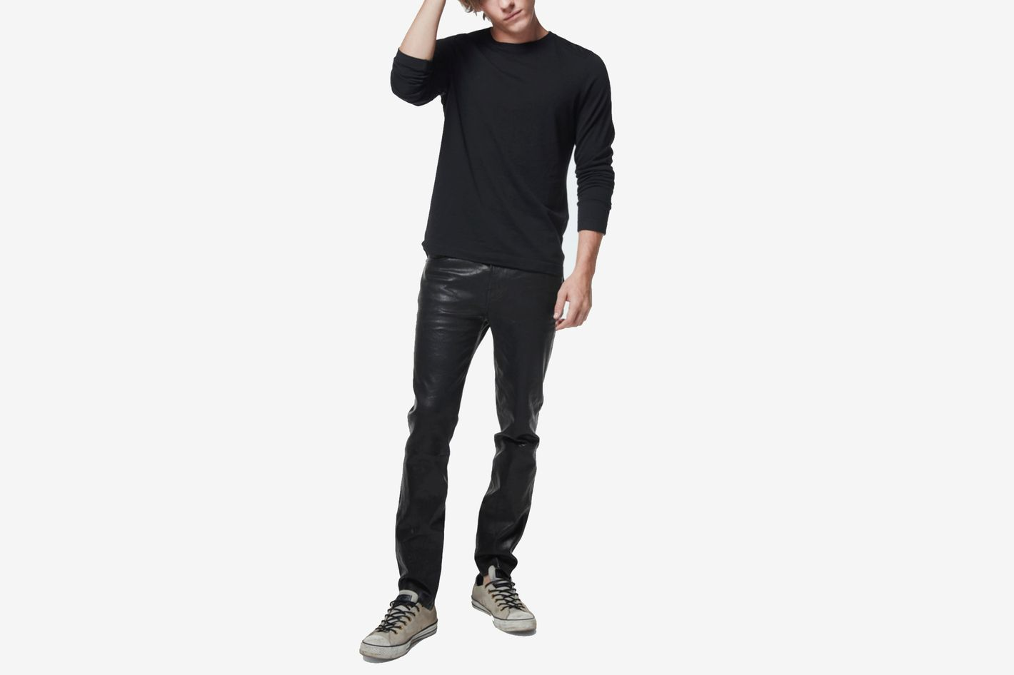 J Brand Mick Skinny Fit In Washed Black Leather