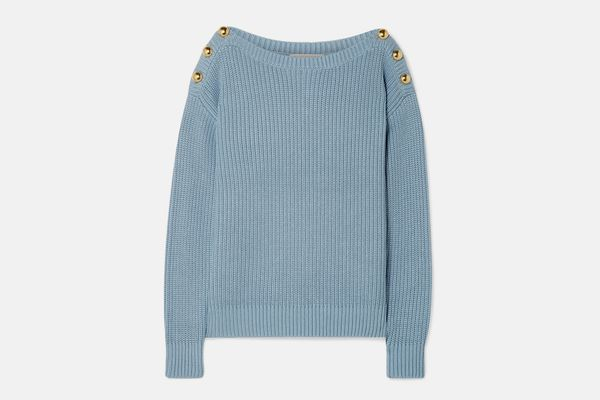 MICHAEL Michael Kors Embellished Ribbed Cotton-Blend Sweater