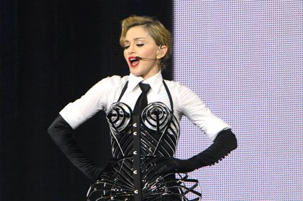 "Madonna performs on stage during her ""MDNA"" tour at Ramat Gan Stadium on May 31, 2012 in Tel Aviv, Israel."