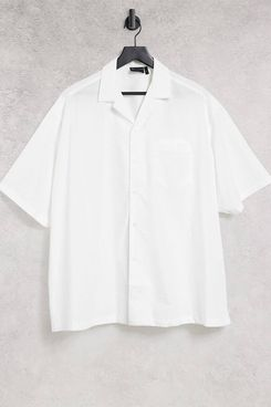 ASOS DESIGN extreme oversized shirt with short sleeve in white