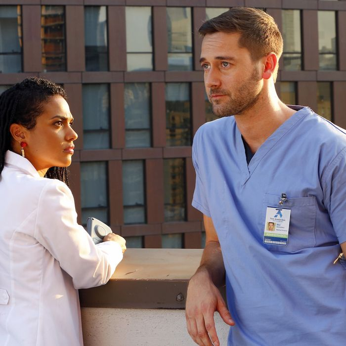 Freema Agyeman as Dr. Hana Sharpe, Ryan Eggold as Dr. Max Goodwin.