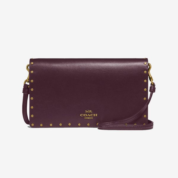 maroon coach foldover clutch with rivets coach-summer-sale