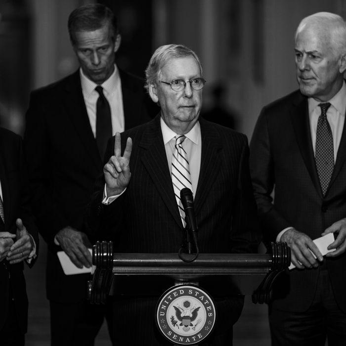 Sen. Mitch McConnell, Sen. Roy Blunt, Sen. John Thune, and Senate Majority Whip John Cornyn.