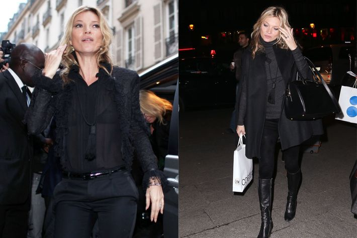 Kate Moss in her fresh new Saint Laurent.
