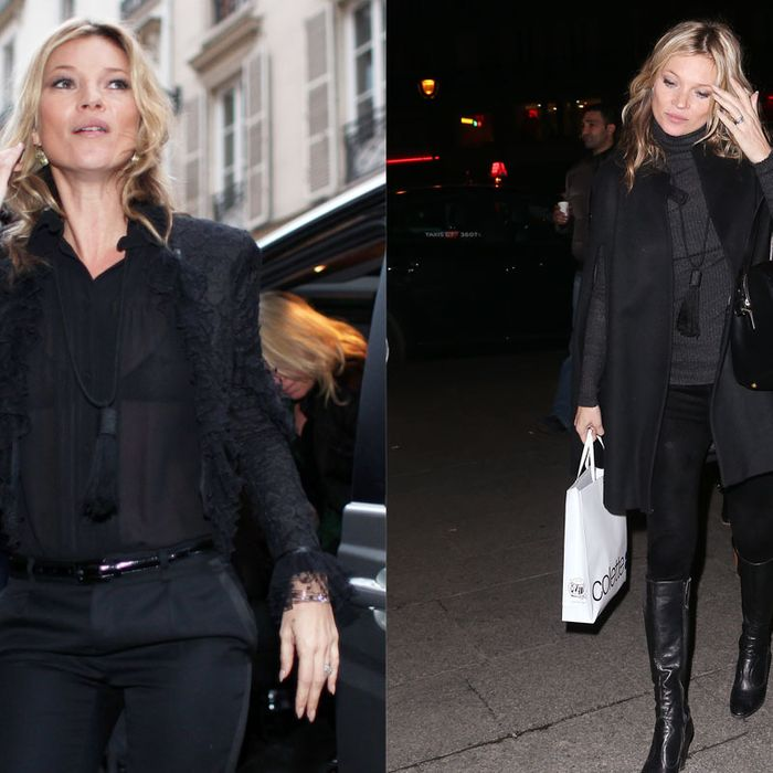Kate Moss in her fresh new Saint Laurent.
