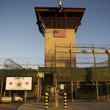 "This image reviewed by the US military shows the front gate of ""Camp Six"" detention facility of the Joint Detention Group at the US Naval Station in Guantanamo Bay, Cuba, January 19, 2012. An Al-Qaeda magazine was discovered after being smuggled into Guantanamo prison, a senior US official said January 18 amid a debate on new rules on mail inspections. Prison staff found an English-language copy of ""Inspire"" magazine which used to include such articles as how to make bombs, deputy military prosecutor Andrea Lockhart told a military tribunal hearing.          AFP PHOTO/Jim WATSON        (Photo credit should read JIM WATSON/AFP/Getty Images)"