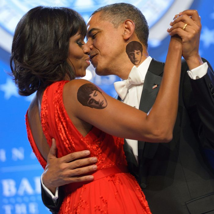 US President Barack Obama and First Lady Michelle Obama dance during the Inaugural Ball at the Walter E. Washington Convention Center on January 21, 2013 in Washington, DC.