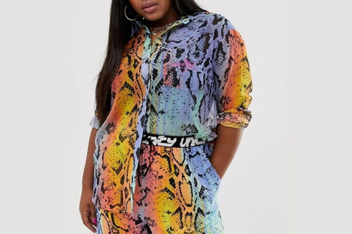 ASOS x glaad& Curve Oversized Sheer Shirt in Snake Print