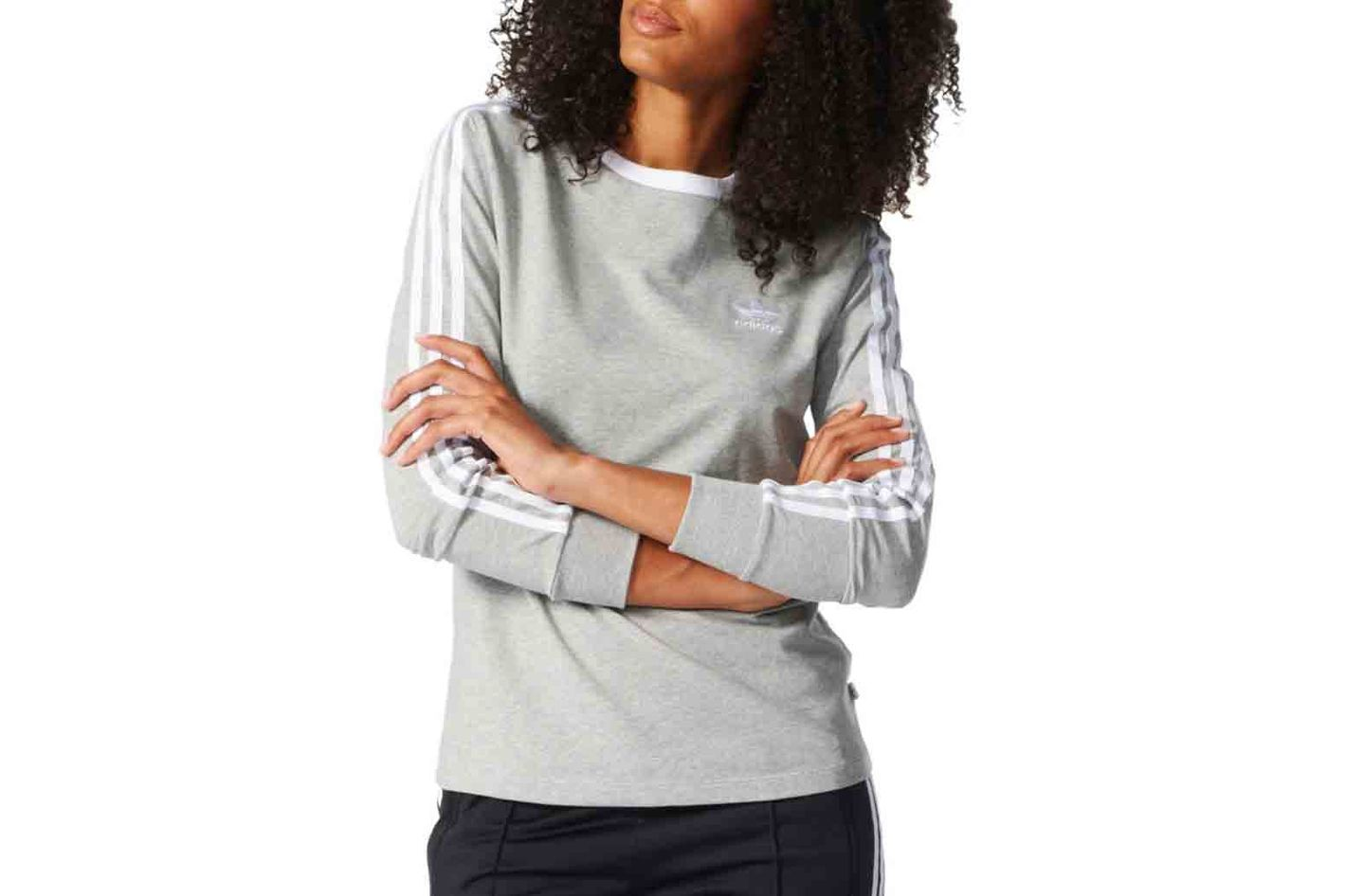 Adidas Crewneck Long-Sleeve Heathered Tee