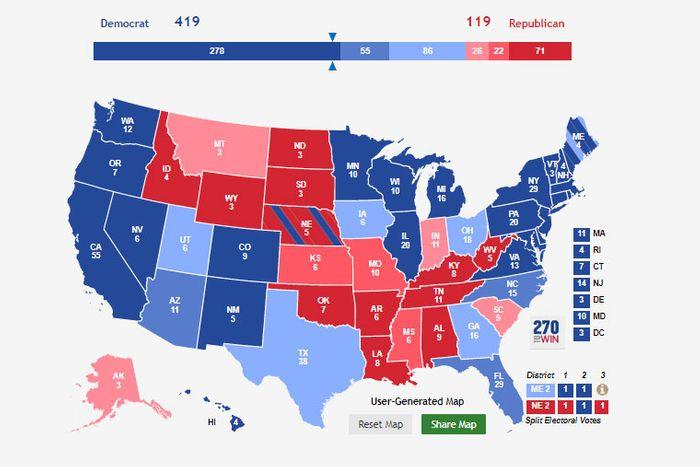карта выборщиков в зависимости от штата