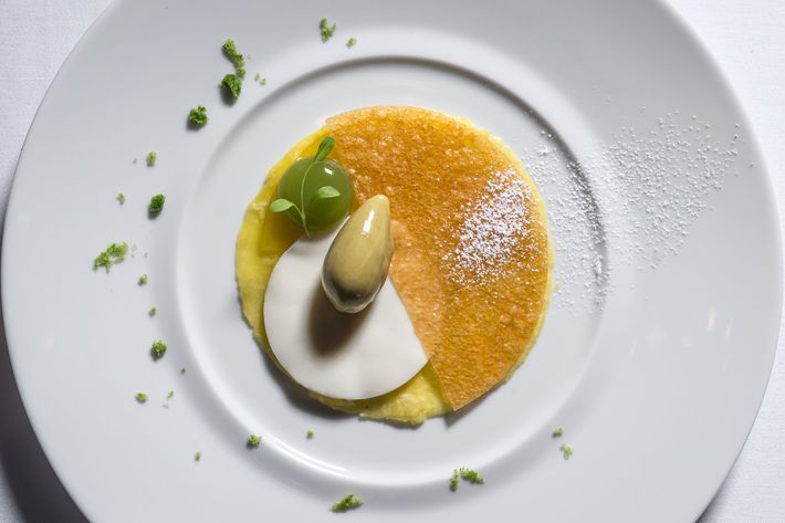 """Ethereal"" — fresh pineapple, green-apple sphere, and herbs sorbet."