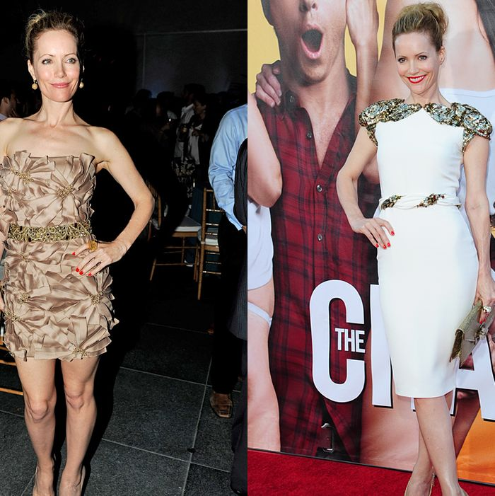 Leslie's premiere outfit (right) and after-party outfit (left).