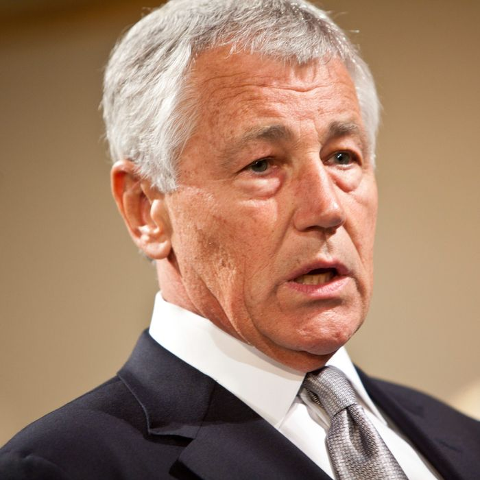 21 Sep 2012, Brooklyn, New York City, New York State, USA --- Chuck Hagel, former US Senator from Nebraska and current Chairman of Atlantic Council stands on stage during the Atlantic Council 2012 Global Citizen Award in New York, on Friday September 21, 2012. --- Image by ? Ramin Talaie/Corbis