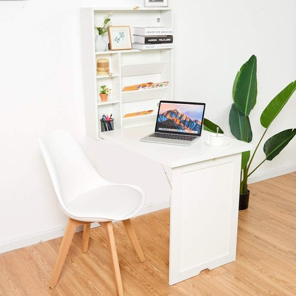 TANGKULA Wall Mounted Table, Fold Out Multi-Function Computer Desk, Convertible Desk Writing Desk