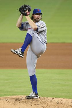 Pitcher R.A. Dickey #43 of the New York Mets throws against the Miami Marlins at Marlins Park on October 2, 2012 in Miami, Florida.