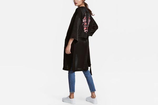 H&M Embroidered Satin Kimono