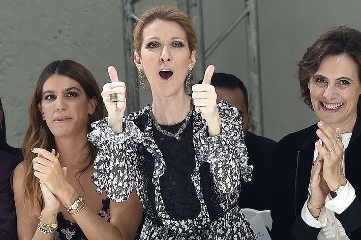 Celine Dion at Paris Couture Week.