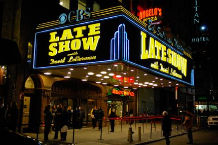 "NEW YORK - JANUARY 02:  A general view of the Ed Sullivan Theater marquee during a taping of the ""Late Show With David Letterman"" on January 02, 2008 in New York City. (Photo by Ray Tamarra/Getty Images)"