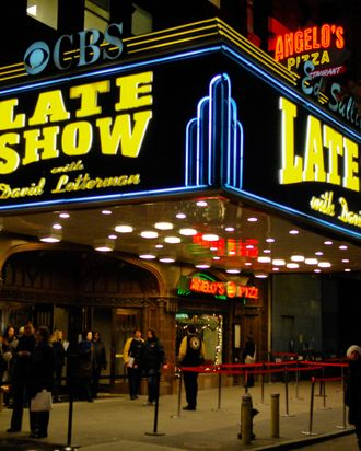 NEW YORK - JANUARY 02: A general view of the Ed Sullivan Theater marquee during a taping of the