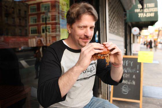 Dobias, eating a sandwich from JoeDough