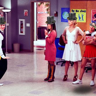 """GLEE: Kurt (Chris Colfer, L) interrupts a performance by Tina (Jenna Ushkowitz, second from L), Quinn (Dianna Agron, third from L), Santana (Naya Rivera, fourth from L) and Brittany (Heather Morris, R) in the """"I Kissed a Girl"""" episode of GLEE airing Tuesday, Nov. 29 (8:00-9:00 PM ET/PT) on FOX. ©2011 Fox Broadcasting Co. Cr: Adam Rose/FOX"""