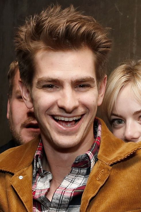 "Actors Andrew Garfield and Emma Stone (back right) attend the Opening Night Of The US Premiere Of ""BULL At Brits"" Off Broadway After Party at 59E59 Theaters on May 2, 2013 in New York City."