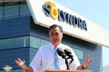 Repubican presidential candidate and former Massachusetts Gov. Mitt Romney speaks during news conference in front the shuttered Solyndra solar power company's manufacturing facility May 31, 2012 in Fremont, California.  The company filed for bankruptcy in 2011 after receiving $535 million in federal loan money.