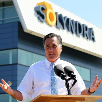 FREMONT, CA - MAY 31: Repubican presidential candidate and former Massachusetts Gov. Mitt Romney speaks during news conference in front the shuttered Solyndra solar power company's manufacturing facility May 31, 2012 in Fremont, California. The company filed for bankruptcy in 2011 after receiving $535 million in federal loan money. (Photo by Justin Sullivan/Getty Images)