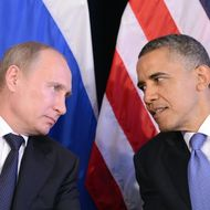 "US President Barack Obama (R) listens to Russian President Vladimir Putin after their bilateral meeting in Los Cabos, Mexico on June 18, 2012 on the sidelines of the G20 summit. Obama and President Vladimir Putin met Monday, for the first time since the Russian leader's return to the presidency, for talks overshadowed by a row over Syria. The closely watched meeting opened half-an-hour late on the sidelines of the G20 summit of developed and developing nations, as the US leader sought to preserve his ""reset"" of ties with Moscow despite building disagreements. AFP PHOTO/Jewel Samad        (Photo credit should read JEWEL SAMAD/AFP/GettyImages)"
