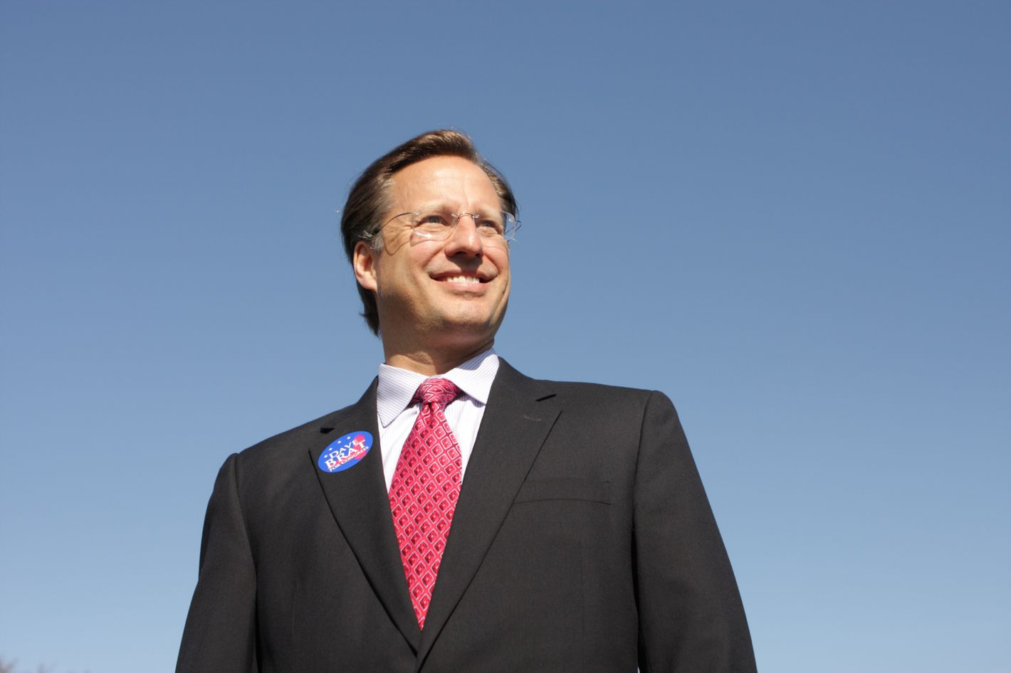 GLEN ALLEN, VA - APRIL 26:  College economics professor and Republican candidate for Congress David Brat (C) poses for a photograph after attending the Henrico County Republican Party breakfast meeting April 26, 2014 in Glen Allen, Virginia. Brat went on to a surprise defeat of incumbent House Majority Leader Eric Cantor in the June 10 primary.  (Photo by Jay Paul/Getty Images)