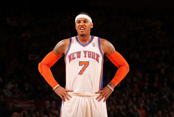 NEW YORK, NY - JANUARY 2: Carmelo Anthony #7 of the New York Knicks stands on the court during the first quarter against the Toronto Raptors on January 2, 2012 at Madison Square Garden in New York City.  NOTE TO USER: User expressly acknowledges and agrees that, by downloading and or using this photograph, User is consenting to the terms and conditions of the Getty Images License Agreement. Mandatory Copyright Notice: Copyright 2012 NBAE  (Photo by Nathaniel S. Butler/NBAE via Getty Images)